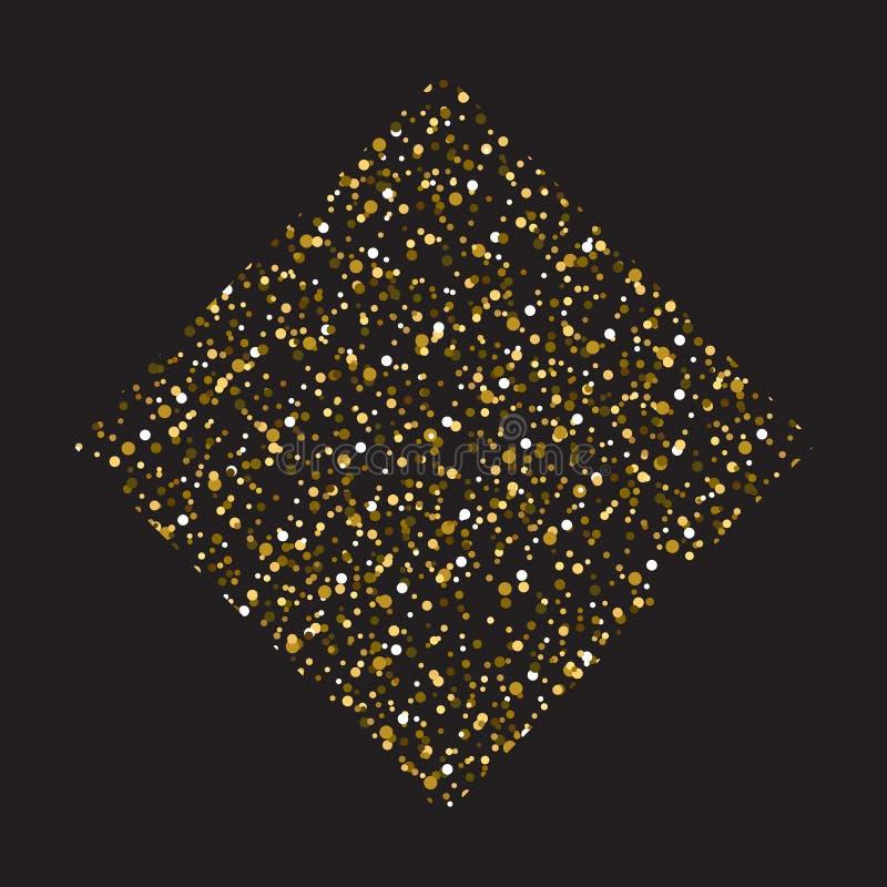 金黄方形的被加点的背景模板 半音圈子传染媒介例证 有益于豪华海报横幅广告 皇族释放例证