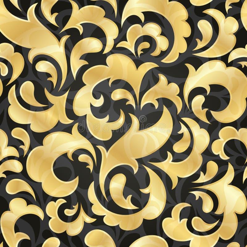 金黄无缝的墙纸 皇族释放例证