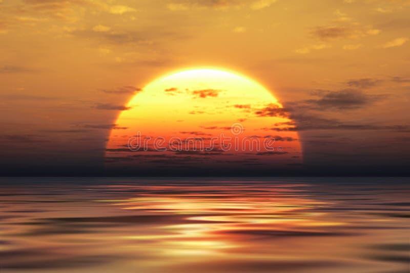 金黄日落 向量例证