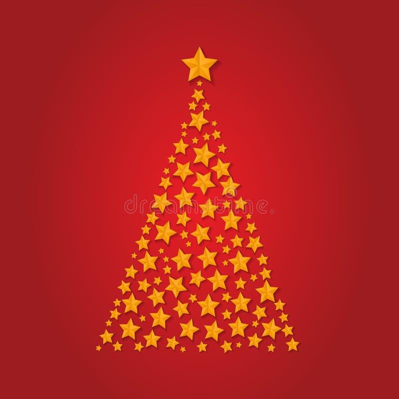 金黄星传染媒介圣诞树  Gretting Xmas卡片 圣诞节担任主角树装饰 传染媒介h 库存例证
