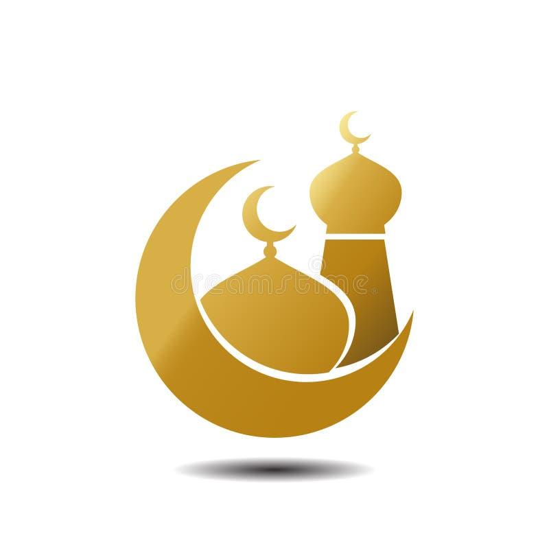金黄月亮和清真寺设计 现代在白色背景的清真寺回教象传染媒介金子 皇族释放例证
