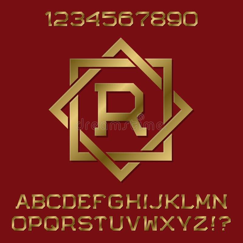 金黄有角信件和数字与最初的组合图案在八角型框架 向量例证
