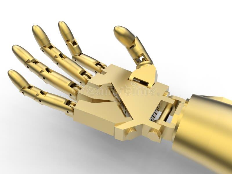金黄机器人胳膊特写镜头例证 库存例证