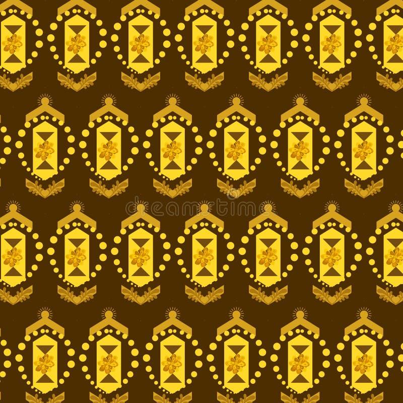 金黄棕色花卉和几何重复的样式 库存例证