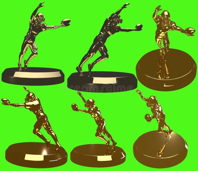 金黄橄榄球雕象金足球运动员雕塑 免版税库存图片