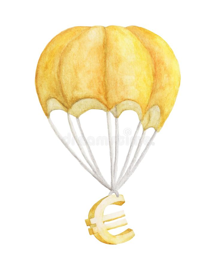 金黄欧元在降伞飞行 额嘴装饰飞行例证图象其纸部分燕子水彩 向量例证
