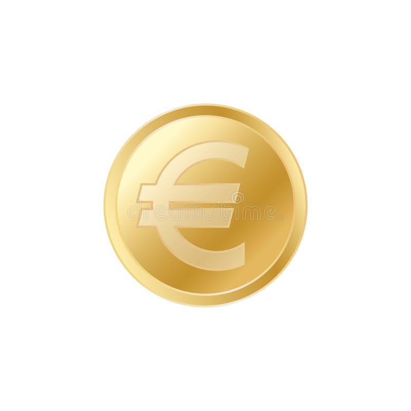 金黄欧洲硬币 现实栩栩如生的金欧元硬币 库存例证