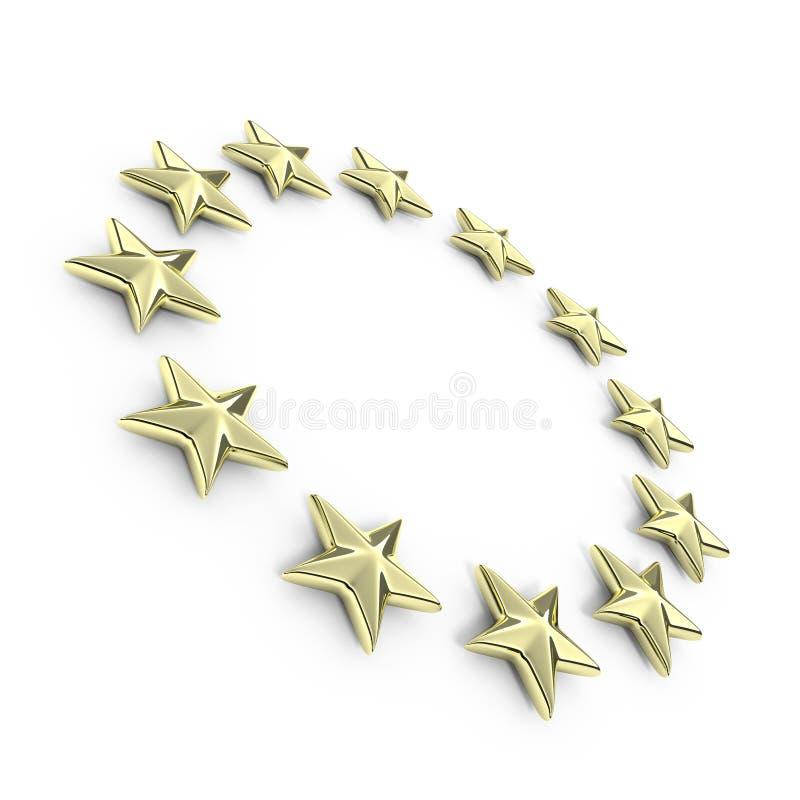 金黄欧洲3d星形 皇族释放例证