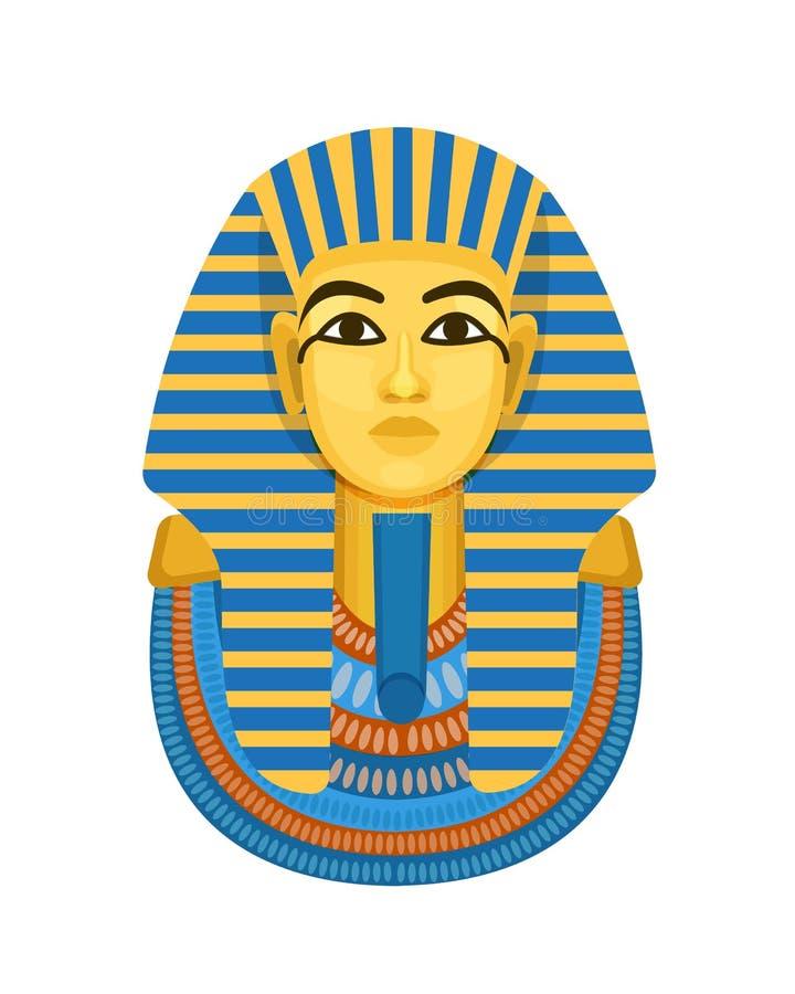 金黄殡葬面具,法老王古埃及,图坦卡蒙胸象  皇族释放例证
