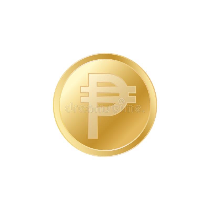 金黄比索硬币 现实栩栩如生的金比索硬币 库存例证