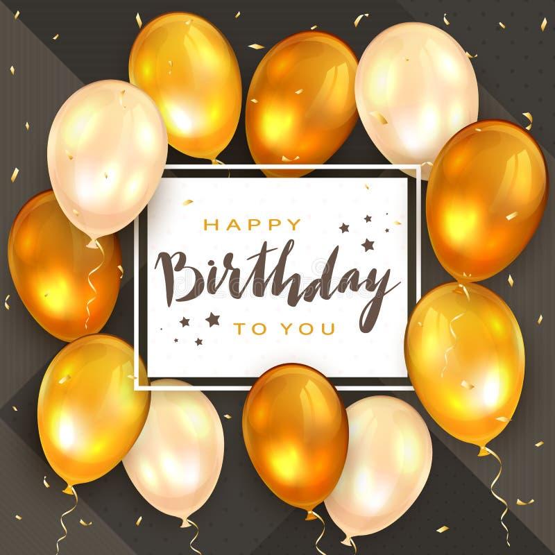 金黄气球和在上写字生日快乐在白色卡片 皇族释放例证