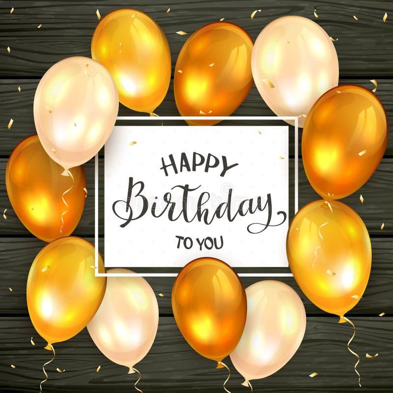 金黄气球和在上写字生日快乐在黑木背景 库存例证