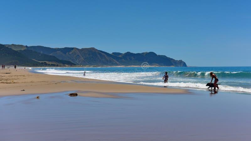 金黄沙子海洋海滩普遍为消遣活动,新西兰 免版税库存图片
