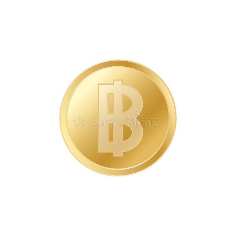 金黄泰铢硬币 现实栩栩如生的金子泰铢硬币 皇族释放例证