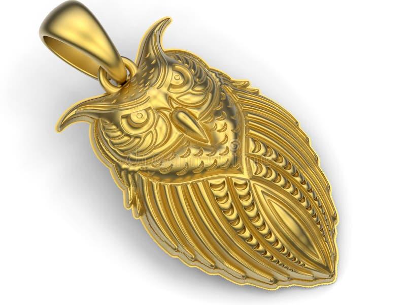 金黄猫头鹰项链 向量例证