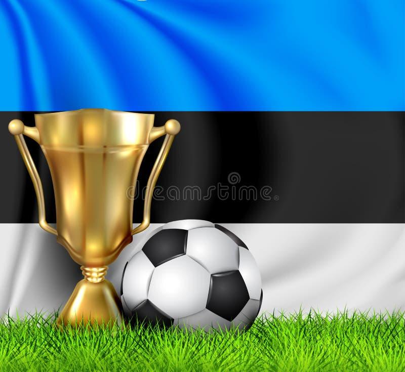金黄现实优胜者战利品杯子和在全国爱沙尼亚旗子隔绝的足球 国家队是优胜者  皇族释放例证