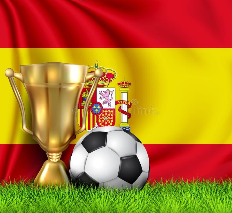 金黄现实优胜者战利品杯子和在全国西班牙旗子隔绝的足球 以一个金黄碗的形式杯优胜者 首先 向量例证