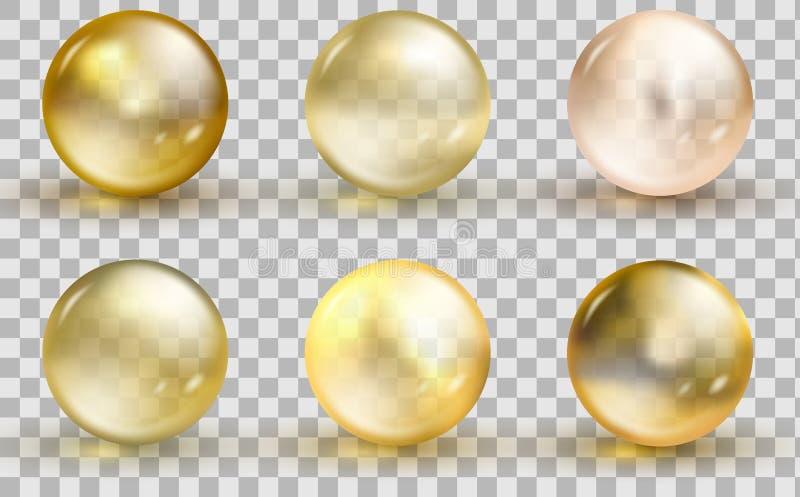 金黄玻璃球模板 油在透明背景隔绝的金泡影 向量例证