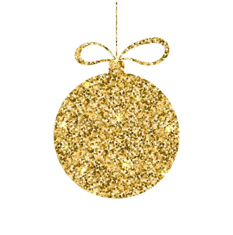金黄球的圣诞节 与金属作用的闪烁球形 闪闪发光装饰模板 假日设计 也corel凹道例证向量 库存例证
