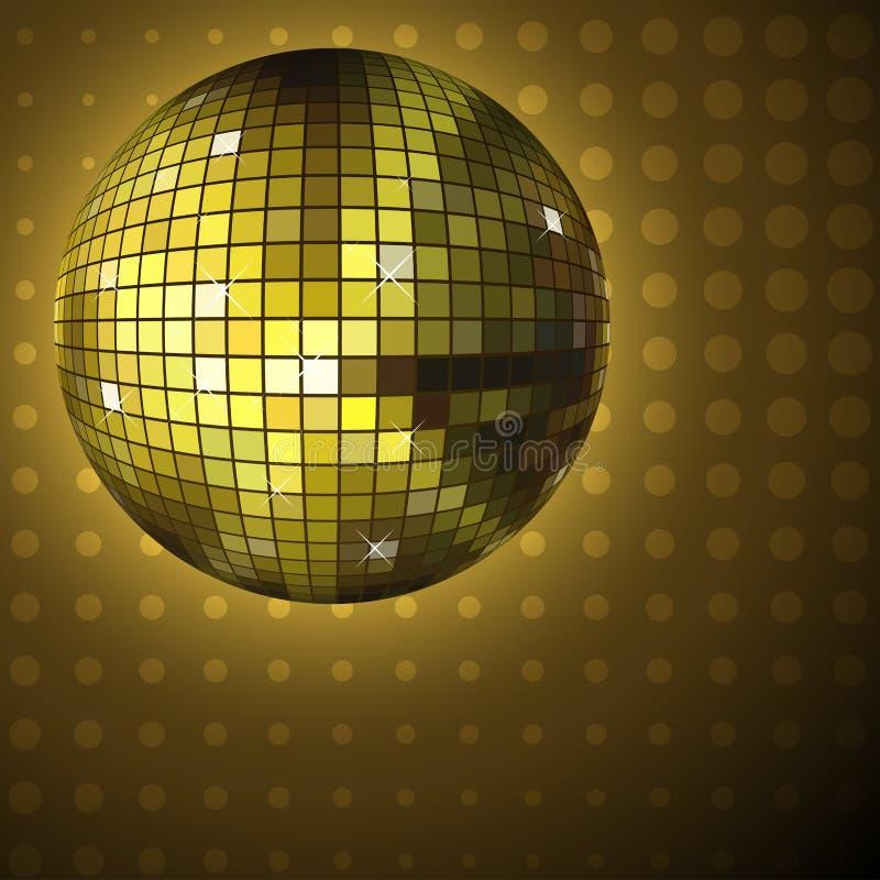 金黄球的迪斯科 库存例证