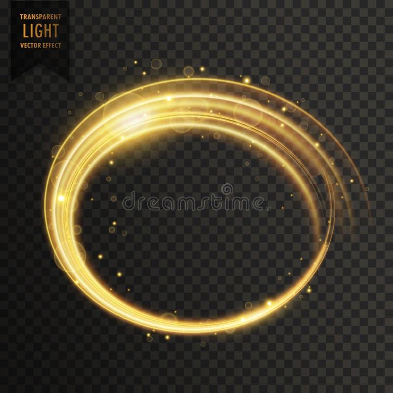 金黄白色漩涡光线影响 向量例证