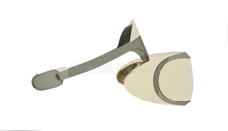 金黄白色VR风镜,虚拟现实耳机,3d翻译 向量例证