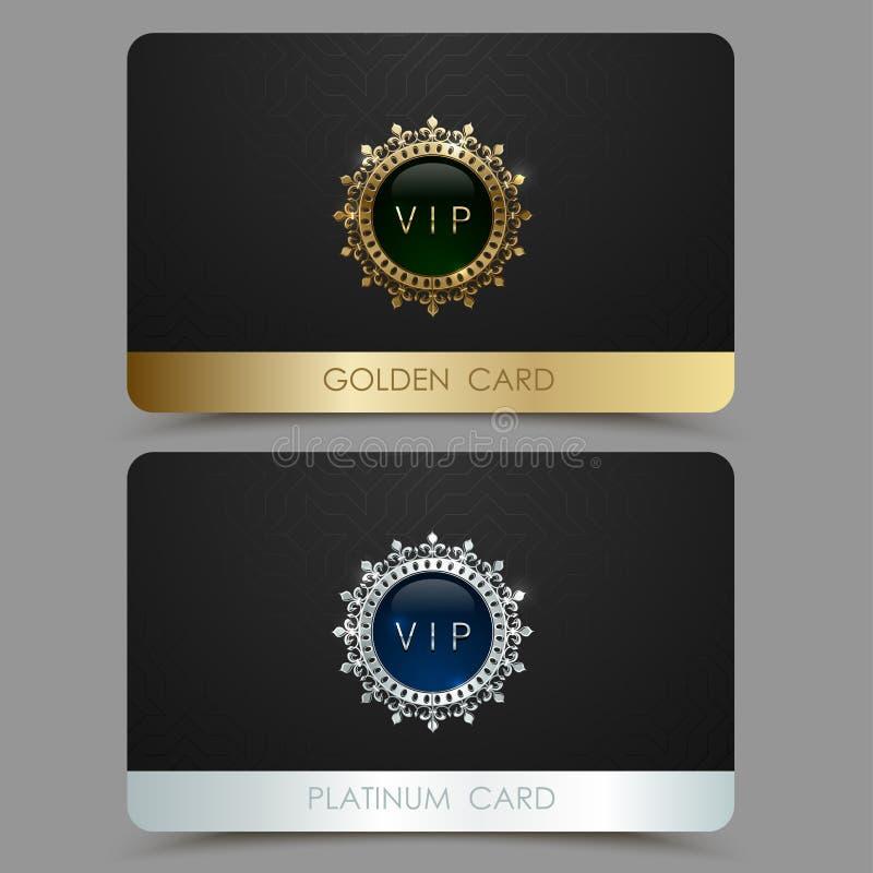 金黄的传染媒介和白金VIP卡片模板 加冠围绕与宝石的框架在黑几何样式背景 珠宝标签 皇族释放例证