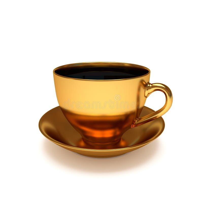 金黄的咖啡杯 皇族释放例证