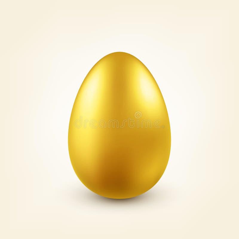 金黄的复活节彩蛋 传统春天假日在4月或3月 星期天 鸡蛋和金子 向量例证