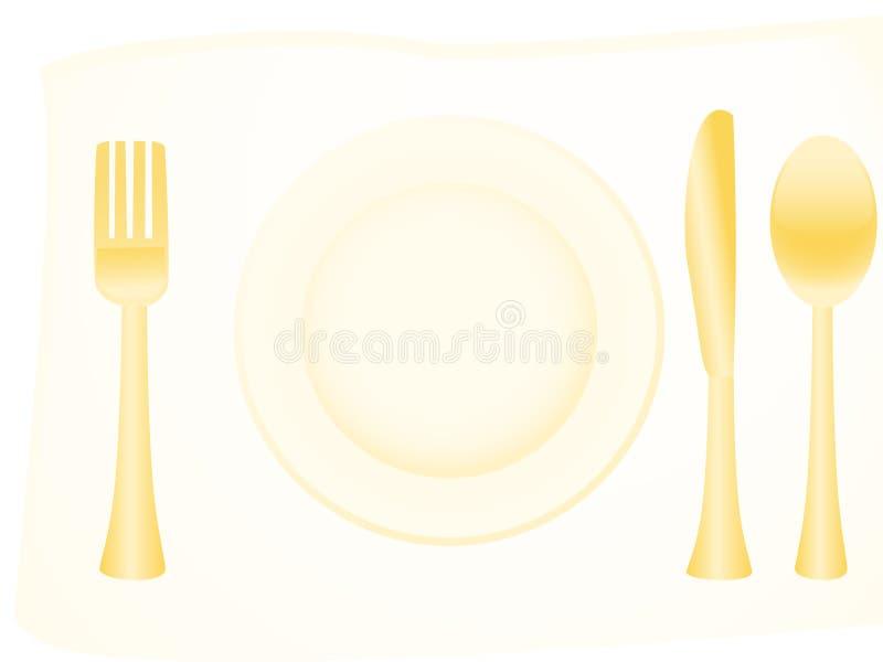 金黄的扁平的餐具 库存例证