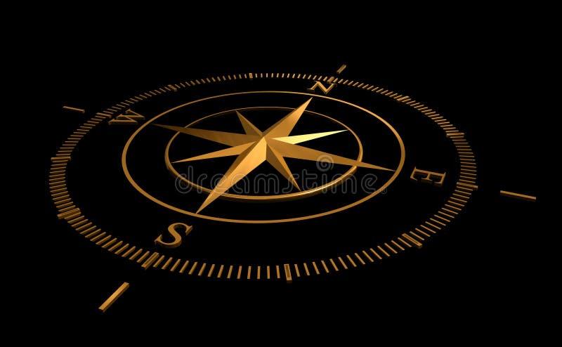 金黄的指南针 向量例证