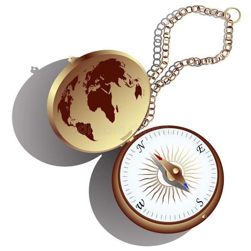 金黄的指南针 皇族释放例证