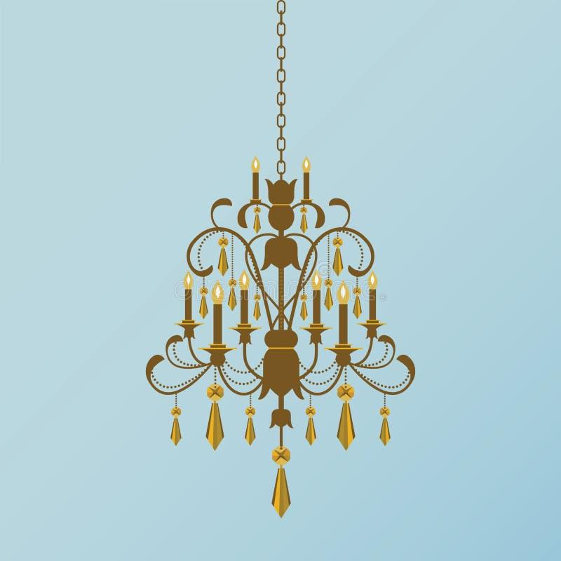 金黄的枝形吊灯 向量例证