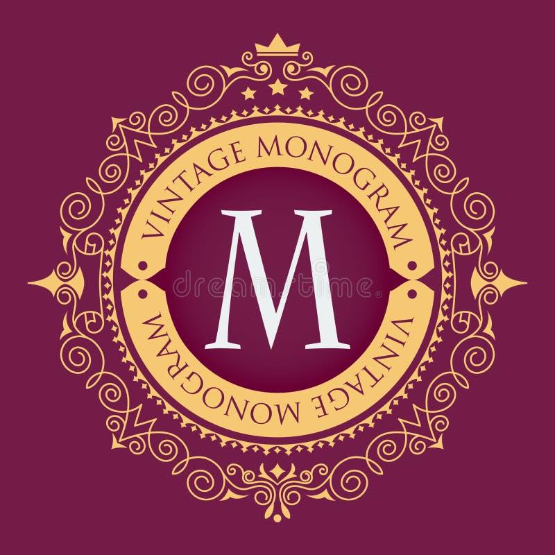 金黄的框架 时髦的优美的组合图案 葡萄酒豪华象征 在传染媒介商标的典雅的书法样式 向量例证