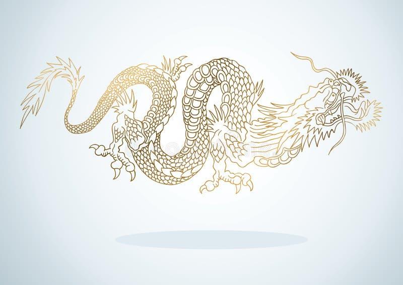 金黄的龙 皇族释放例证