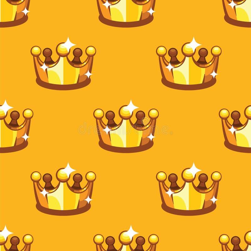 金黄皇家冠无缝的样式背景 样式国王和女王/王后crownon黄色背景 库存例证