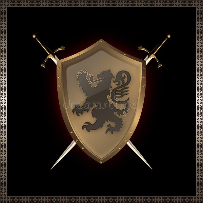 金黄盾剑 库存例证