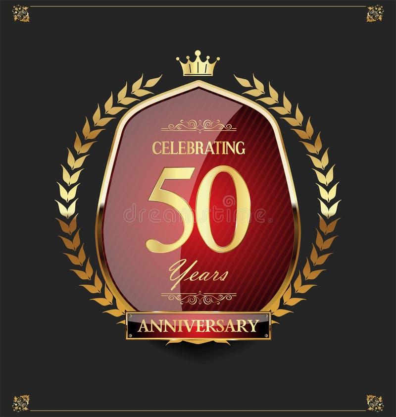 金黄盾和月桂树花圈周年50年 库存例证