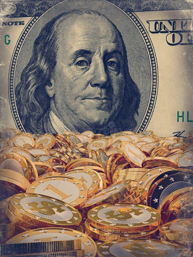 金黄硬币和100美金 库存例证