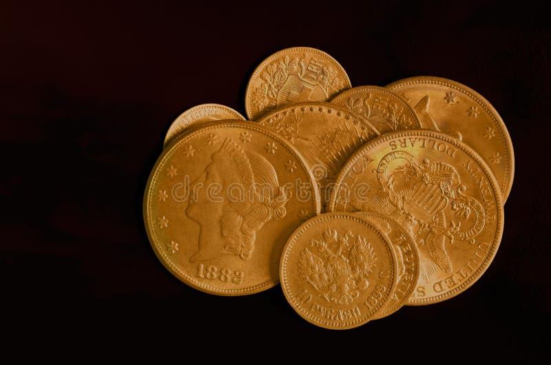 金黄硬币收集 库存照片