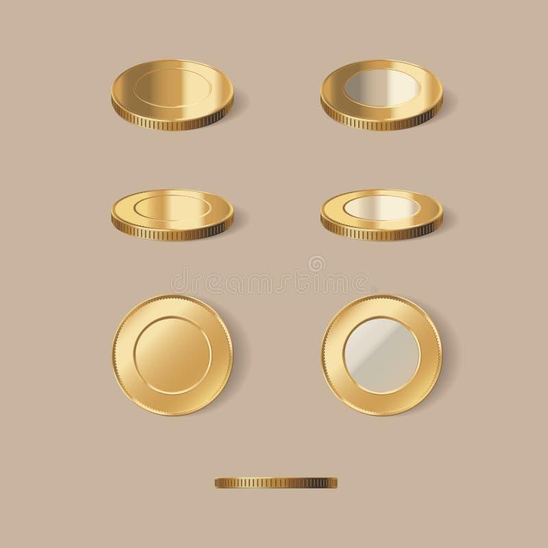 金黄硬币被设置的传染媒介例证 向量例证