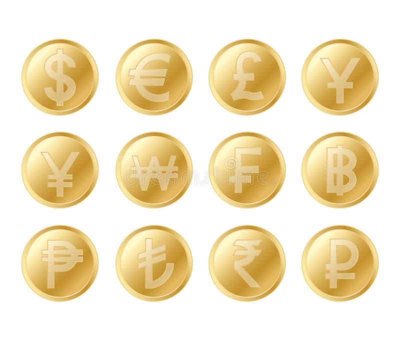 金黄硬币集合 栩栩如生的金币的现实收藏 向量例证