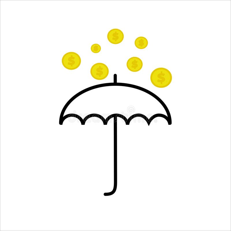 金黄硬币雨  向量例证