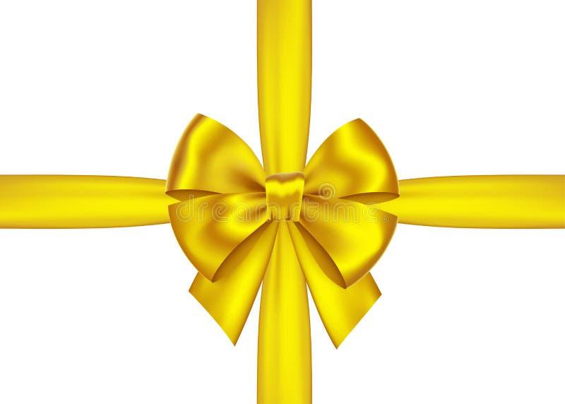 金黄礼物丝带和弓圣诞节的,新年装饰 皇族释放例证