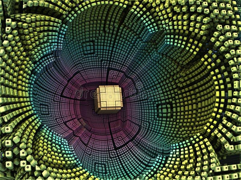金黄立方体在花形状的中心 向量例证