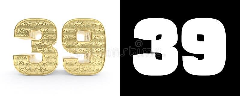 金黄第三十九第39在与下落阴影和阿尔法通道的白色背景 3d例证 皇族释放例证