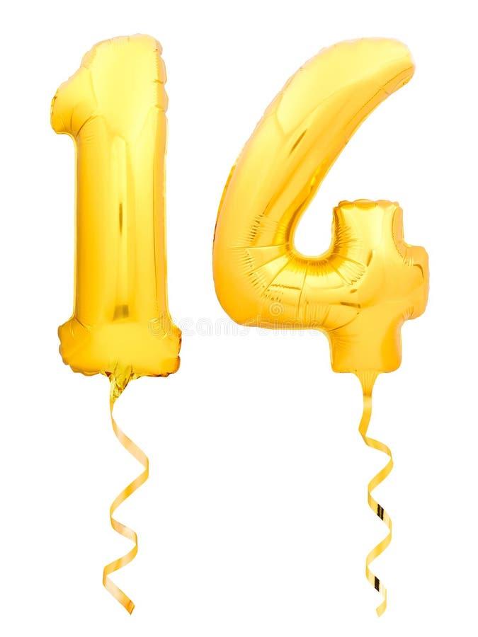 金黄第十四做了有金黄丝带的可膨胀的气球在白色 免版税库存图片