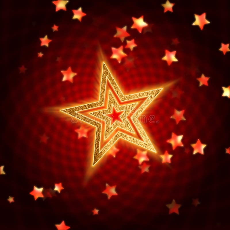 金黄红色螺旋星形 皇族释放例证
