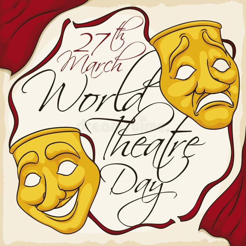 金黄纪念世界剧院天的面具和帷幕在3月,传染媒介例证 皇族释放例证