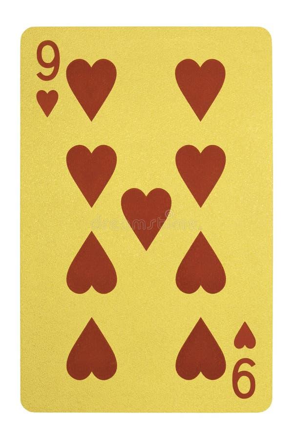 金黄纸牌,九心脏 库存图片
